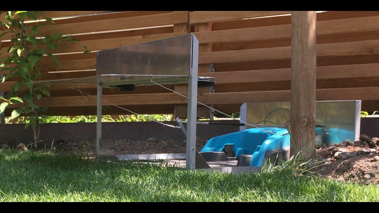Garage fr Mhroboter Gardena R40Li mit Klapptor - YouTube
