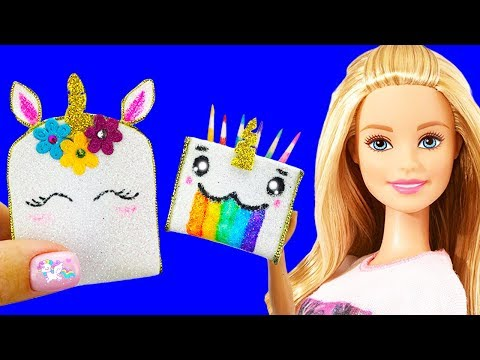 DIY : Miniature UNICORN School Supplies (Backpack, Notebook, Pen,  Pencil case) REALLY WORKS