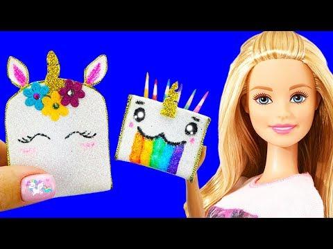 10 DIY Barbie Hacks Unicorn School Supplies : Miniature Backpack, Pencil case, pencil, Barbie Crafts