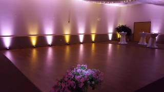 AAd shrine wedding in gold and pink lighting by Duluth Event Lighting