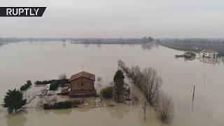 AERIAL: Heavy floods hit northwest Italy, hundreds evacuated