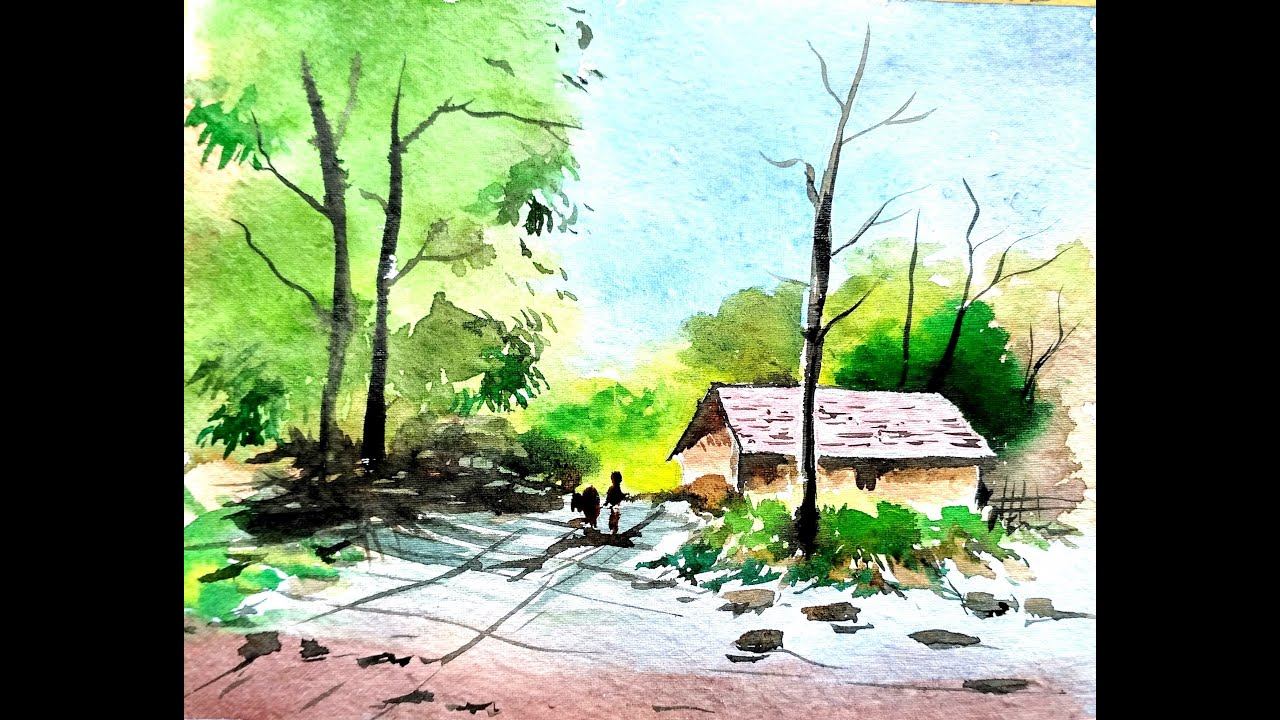LANDSCAPE PAINTING | WATERCOLOR PAINTING | PAINT WITH DAVID - YouTube