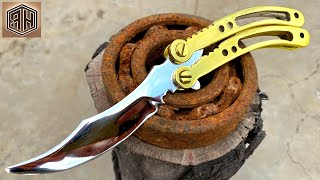Turning a Rusty Bearing into a Beautiful but Razor Sharp BUTTERFLY KNIFE