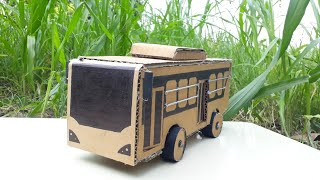 How to Make a RC Martz Bus from Cardboard-multi lighting Bus || Bus banane ka tarika Hydraulic crane