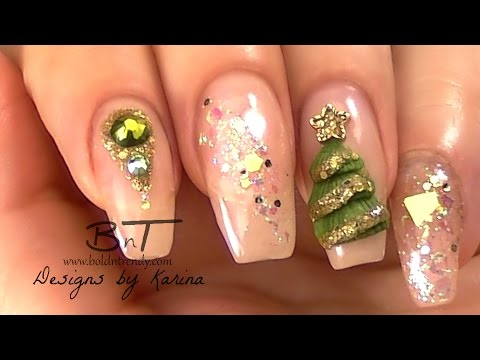 Magic Frost Nails Olive Green And Gold Christmas Nail Art 3d