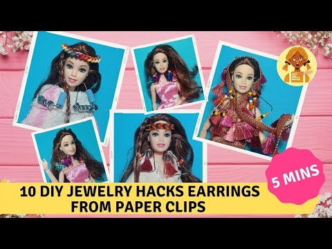 10 DIY Jewelry Hacks earrings from paper clips within 5 mins