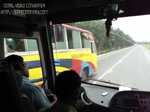 Hanif volvo B9R overtaking Shyamoli Hino AK1J......... - YouTube