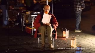 12/13 Mahnwache Braunschweig 13.10.14: Helmut über die Friedenskonferenz Hannover