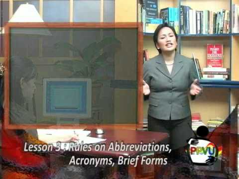 Lesson #3: Rules on Abbreviations, Acronyms, Brief Forms