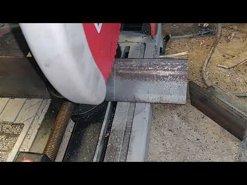 Milwaukee metal chop saw on angle iron