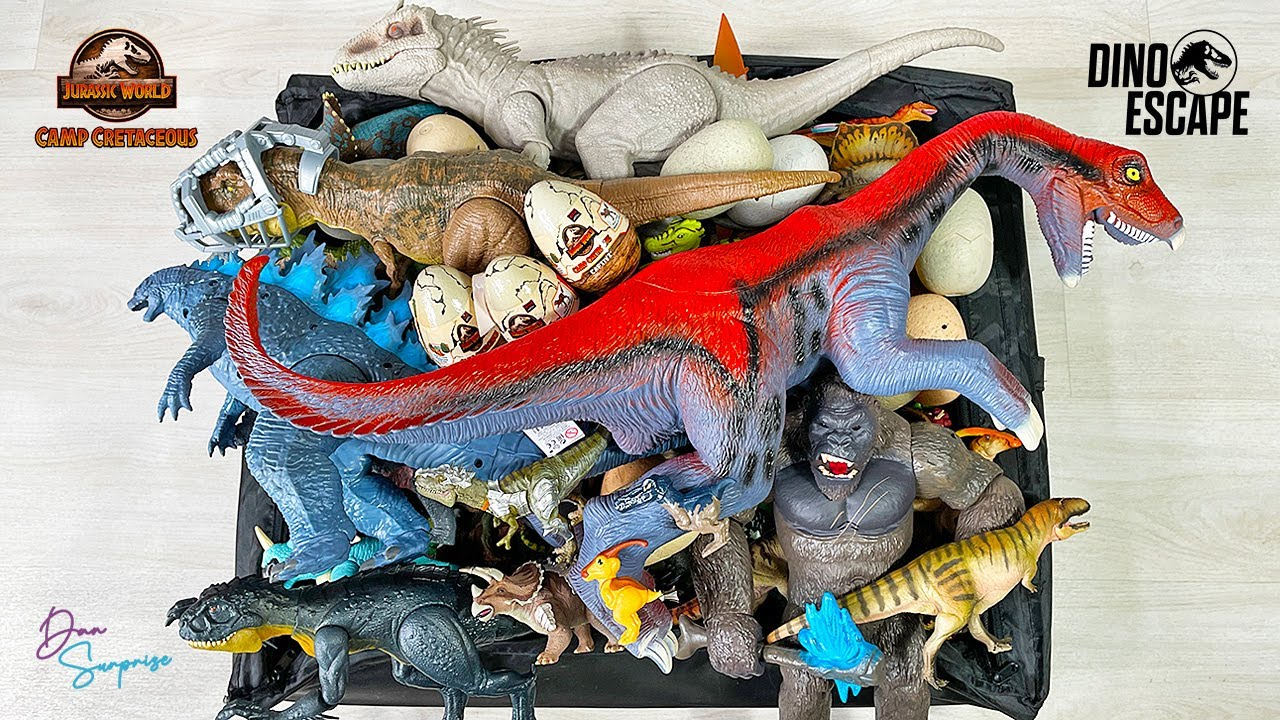 Colossal Box of 130 Dinosaurs from Jurassic World Camp Cretaceous! Scorpios Rex Stomp N Escape T-Rex