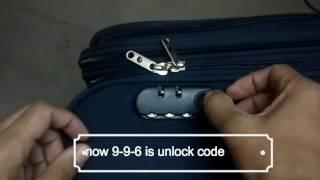 Repeat youtube video How to reset suitcase lock,luggage,Trolley, Safari,American Touristor, VIP, Sky Bags, Samsonite