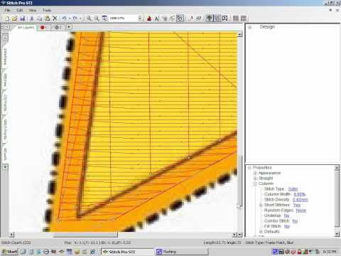 Digitizing a 5 point star using an outline fill with a column stitch outline Part 2