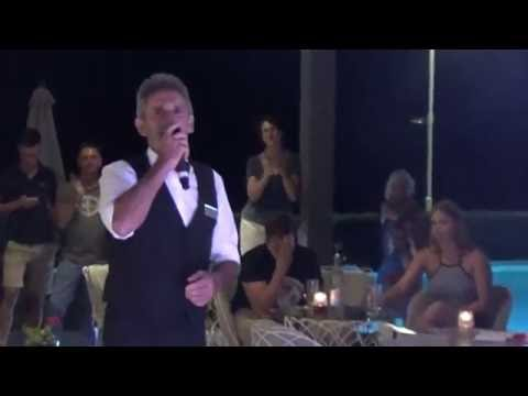 Sentido Aegean Pearl bartender Manousos Rodinos karaoke on fire! 22 August 2016