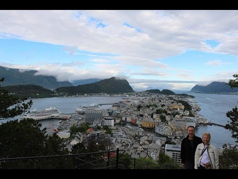 ALESUND NORWAY, climbing the steps to the viewing platform, July 2016