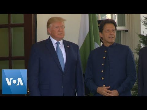 US President Donald Trump Greets Pakistan's Prime Minister Imran Khan At The White House