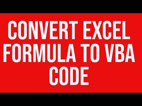Convert MS Excel Formula To VBA Code