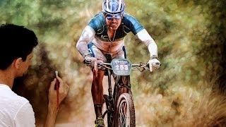 The cyclist - Hyper-realistic painting - millani
