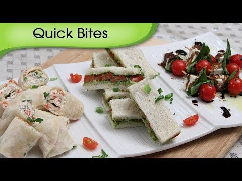 Party Appetizers Quick Bites | 3 Different Types Of Starters | Snack Recipes By Ruchi Bharani