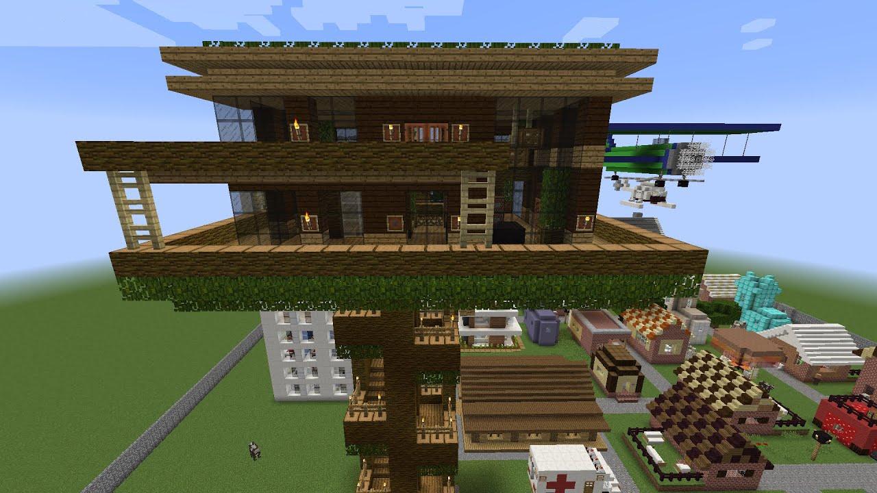 Como hacer una gran casa del arbol en minecraft pt 1 youtube for Como amueblar una casa