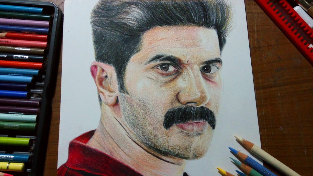 Drawing dulquer salmaan using colored pencils