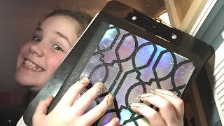 Asmr tapping on school supplies paper clip nails