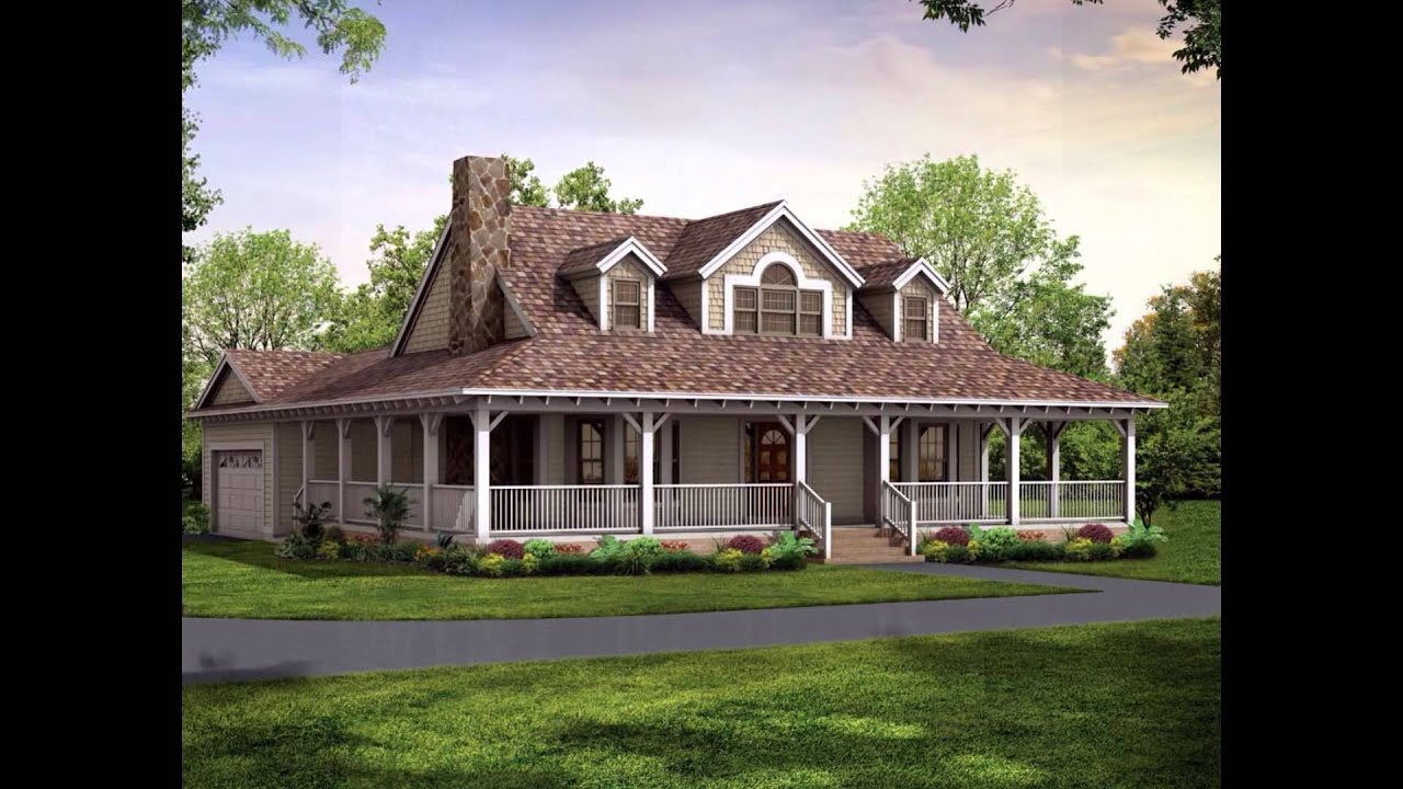 Wrap around porch house plans youtube for House plans with porches all the way around