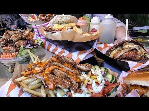 Huge Loaded Chicken Schnitzel Steaks Tasted in Camden Town. London Street Food
