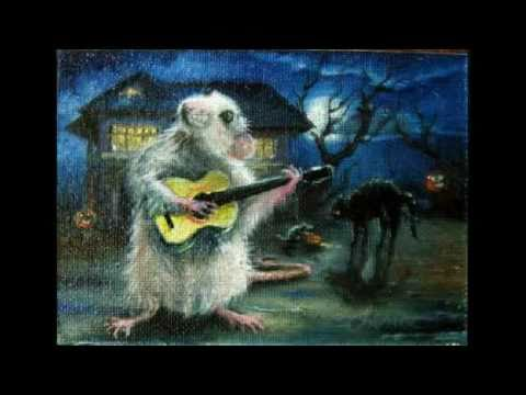 Halloween rat playing guitar miniature oil painting Daniel C. Chiriac fine art