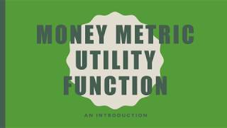 Money Metric Utility Function: An Introduction