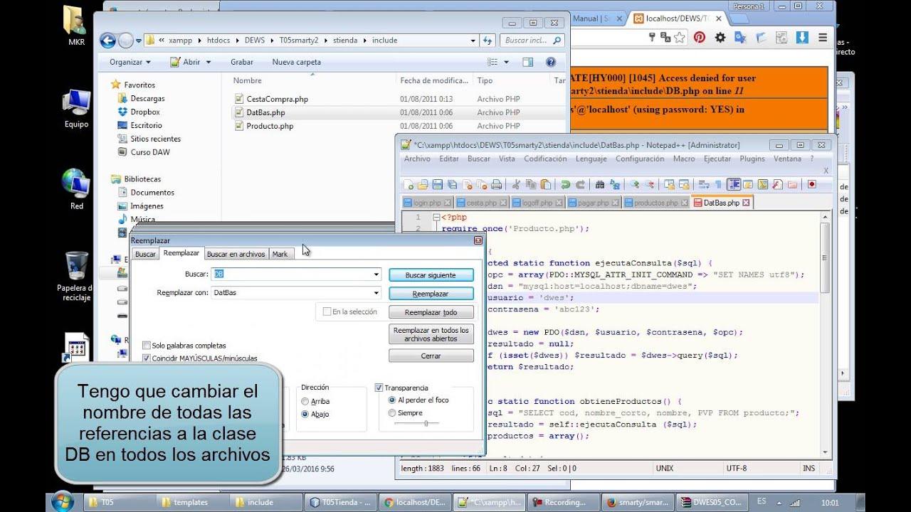 Importar un proyecto Smarty a nuestra plataforma XAMP - YouTube