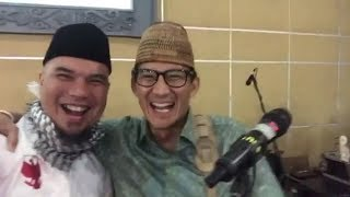 Download Video Video Sandiaga Uno Kecup Ahmad Dhani saat Jadi Gitaris Dadakan MP3 3GP MP4