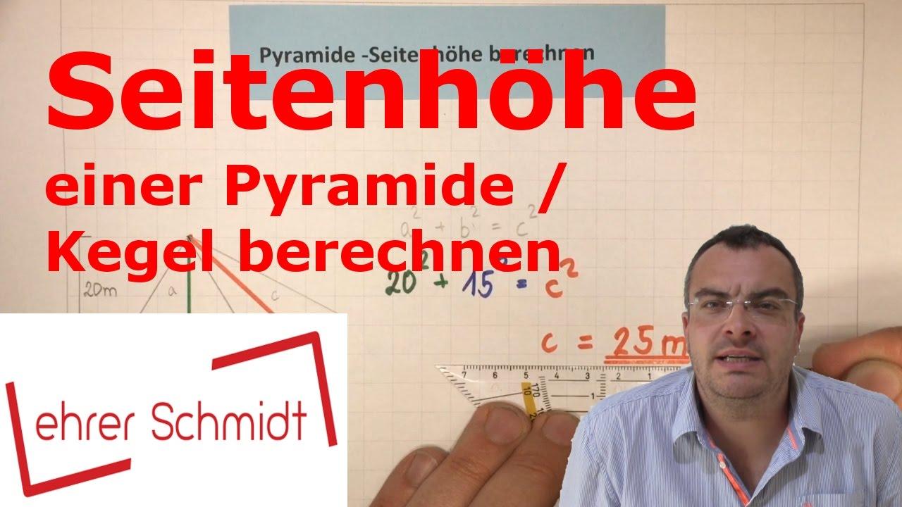 seitenh he einer pyramide kegel berechnen k rper mathematik youtube. Black Bedroom Furniture Sets. Home Design Ideas