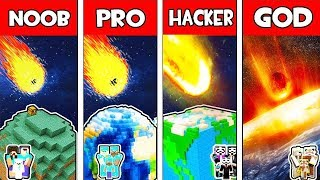 Minecraft - Noob Vs Pro Vs Hacker Vs God  Minecraft Planet Vs Meteor Survival  Challenge