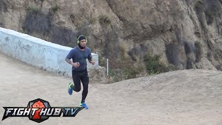 Watch Miguel Cotto run mountains like Rocky as he prepares for Daniel Geale!