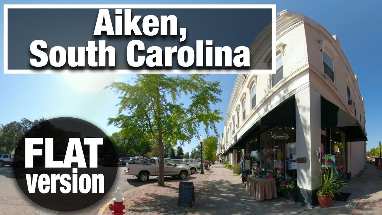 City Walk: Aiken, South Carolina Downtown Flat virtual treadmill walking video