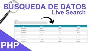 Búsqueda de Datos en Tiempo Real (Live Search) con PHP + MySQL + JQuery
