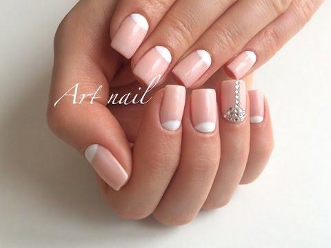 Дизайн Ногтей Лунный Маникюр Со Стразами!  Nail Art (manicure with lunula)