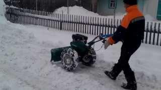 Чистим снег мотокультиватором Кайман
