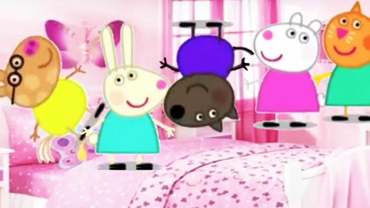 Five Little Peppa Pig Jumping On The Bed Nursery Rhymes And More