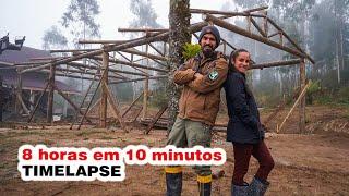 TIMELAPSE Construção Estrutura Galpão de eucalipto tratado│ Projeto Oficina ep 02