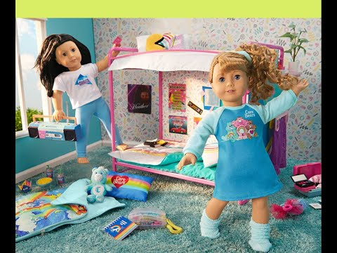 American Girl Doll Courtney Moore's Bunk Bed Bedroom, Sleepover Accessories, PJ's And Collection