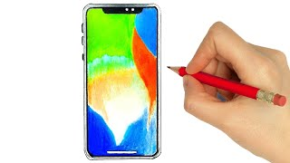 HOW TO DRAW A IPHONE X - COMO DESENHAR UM IPHONE