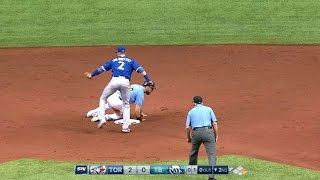 tortb benches clear after souza jrs hard slide