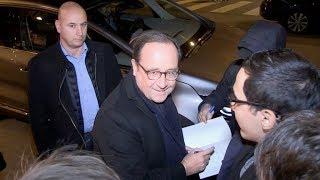 Francois Hollande arriving at C a Vous tv show in Paris