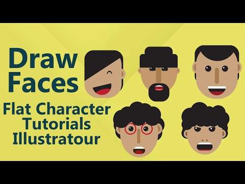 how-to-draw-flat-faces-,geometric-design,-illustrator