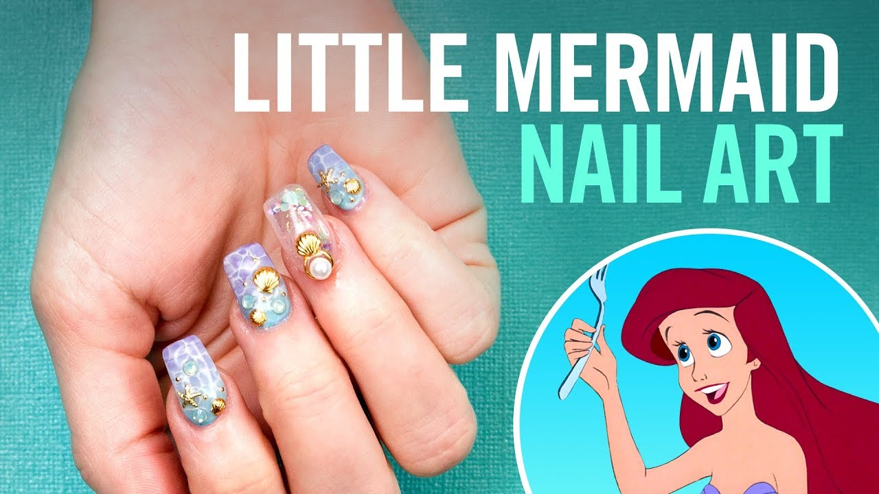 Little Mermaid Aquarium Nails | TIPS | Disney Style - Little Mermaid Aquarium Nails TIPS Disney Style - YouTube