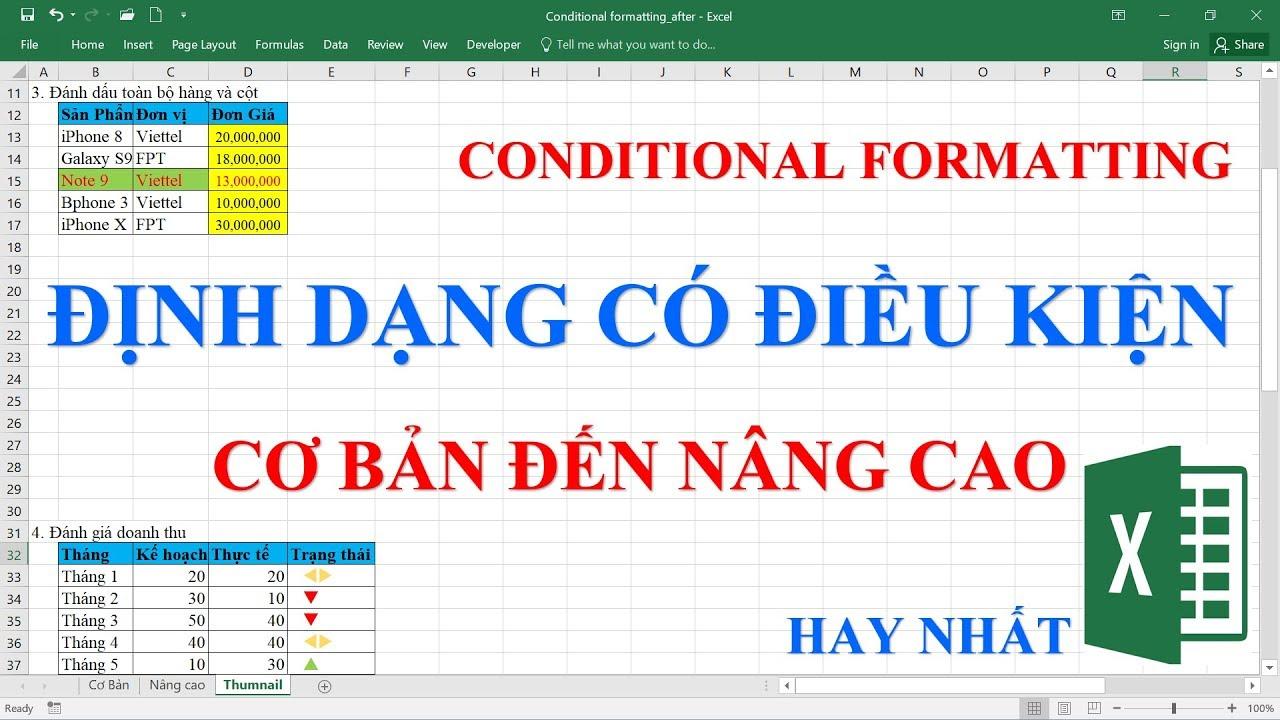 Định dạng có điều kiện | Conditional Formatting (Hay nhất)