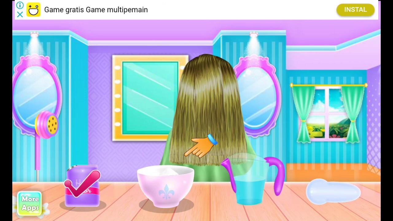 Perawatan Rambut Di Salon Game Anak Perempuan Youtube