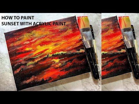 Landscape painting for beginners acrylic, Sunset acrylic painting tutorial for beginners,